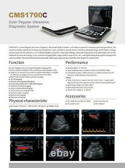 CMS1700A color Doppler ultrasonic diagnostic Scanner with USB, 3.5 Convex Probe